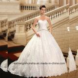 Платье венчания Wd002 просто мантии шарика Tull шариков Pleats Bridal