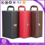 Presentación plegable de encargo de alta calidad que empaqueta la caja de vino de cuero