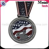 Medallas baratas plateadas cobre de los deportes del metal de encargo al por mayor con la cinta