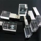 実質のメモリのUSBのフラッシュ駆動機構ガラス3DレーザーEnrgavedのロゴの高品質