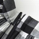 Юбка сборок MIDI шотландки черноты поставкы OEM белая для женщин