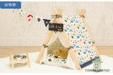 動物の漫画の印刷木製犬のテントの綿パッドペット家