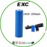 Bateria de venda quente 2000mAh 3.7V Cylinderical 18650 Bateria de iões de lítio