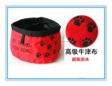 Bol en nylon pliable imperméable à l'eau d'aliments pour chiens, cuvette d'animaux