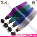 Borgonha/pacotes tingidos brasileiros roxos/vermelhos/do verde/tom cinzento do Weave 9A dois do cabelo humano de Ombre cabelo