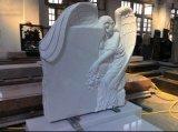 Memoriali e pietre tombali di marmo bianchi di seduta di Kerbed di angelo intagliati pietra di Haobo