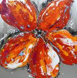 Красный цветок ручной работы картины маслом в палитру ножа