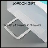 クラフトの白い多彩な印刷はあなた自身のロゴの平らなハンドル袋を取る