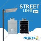 8W Sensor de movimiento integrado todos en una calle la luz solar