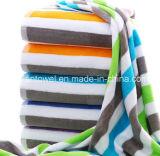工場卸売の100%年綿の余分Lagreのサイズの縞のビーチタオル、ヤーンはビーチタオルを染めた