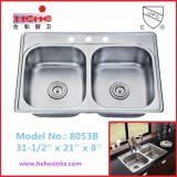 Premier bassin de cuisine d'acier inoxydable de support avec le fini de satin (8053B)