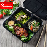 3 Compartmentsの使い捨て可能なBlack Plastic Food Container