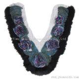 Rhinestone вышивка кружева с меховой воротник хлопчатобумажной ткани одежда аксессуары