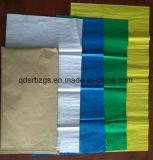 Los envases de plástico blanco de la bolsa de tejido de polipropileno de color con