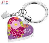 판매를 위한 주문을 받아서 만들어진 꽃 패턴 심혼 모양 아연 합금 Keychain