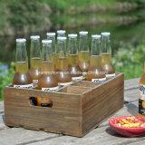 Acabado rústico de madera marrón Vintage Botella de Cerveza la caja de la caja de almacenamiento con asas de transporte