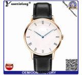 El reloj delgado más nuevo de los hombres Yxl-645 con la venda y el caso de cuero de Rosegold