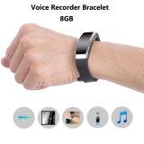 Black Fashion Digital Voice Recorder Bracelet Wristband 8GB Dictaphone para Class Sports Lectures Entrevistas