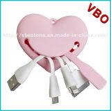 Forme de coeur rose 3 en 1 câbles USB pour Appple et téléphones Android