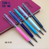 Penna promozionale del cristallo di azione di torsione della penna del metallo del punto di vendita calda