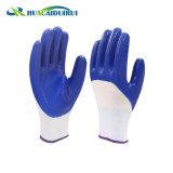 Синий нитриловые перчатки с покрытием 3/4 напечатано с логотипом