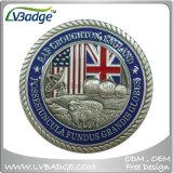 Latón Coin Challenge estampado con esmalte acabado antiguo