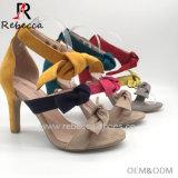 Mode Bowknot Strappy imitation cuir velours colorés sandale Stiletto talon sandale Strappy sandale de cheville