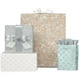 Sacos do presente do Scallop da associação & da prata que carimbam sacos do presente da folha dos sacos de papel da compra
