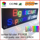 P10RGB Outdoor Full Color LED Sign USB Informação de rolamento programável Display LED 38X12.6 Inch
