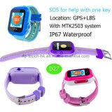 IP67 imperméabilisent la montre de traqueur des gosses GPS avec le bouton de SOS (D27)