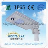 옥외 IP65는 1개의 태양 가로등 6W에서 모두를 방수 처리한다