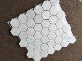 Azulejo de mosaico del hexágono del mármol blanco 2 de Carrara ''