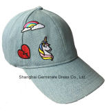 Бейсбольная кепка способа в ткани джинсовой ткани с плоской вышивкой (LY079)