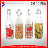 Frasco de vidro desobstruído barato por atacado 1000ml do armazenamento do refresco para o leite