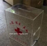 Caixa acrílica desobstruída por atacado da doação para a cruz vermelha (BTR-Y1001)