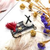 2 Brooches de cristal do Tassel da bandeira do Crochet do Bowknot da esfera das cores POM Poms