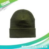 Sombreros reversibles hechos punto de acrílico verdes del invierno para la promoción (032)