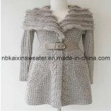 Леди в бежевых тонах шерстяной пуловер с меховой (KX-W11)