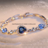 Un diamante di sei colori ha fissato i monili del cristallo di disegno del cuore del braccialetto delle donne