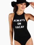 Bodysuit фронта гонщика печати лозунга женщин высокого качества сексуальный