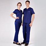 65%/35% Polycotton unisexe frotte le dessus normal d'hôpital d'ensembles et le travail uniforme de soins de culotte frottent des ensembles