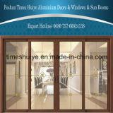 Раздвижные двери моста деревянного зерна алюминиевые сломанные с декоративной панелью двойной застеклять стеклянной
