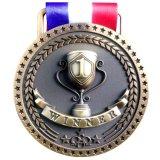 Medaglie di bronzo d'argento dell'oro per i primi secondi terzi premi del posto con opzione di rivestimento luminoso o antico, nastro blu bianco rosso