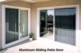 Porte coulissante en aluminium de double panneau en verre (glissant la porte de patio)