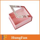 Rectángulo de regalo de empaquetado de papel plegable rígido de la cartulina portable
