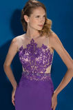 Applique Sleeveless do laço e parte traseira transparente uma linha vestido de noite