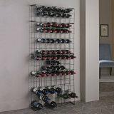 crémaillère noire de vin en métal de trellis de mémoire de mur de l'étage 65-Bottles