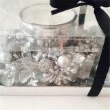 Oro Plata Set de Regalo de Navidad vela con cinta negra