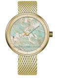 Reloj de la venda del acoplamiento con la dial de mármol natural