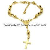 El encanto de la cruz de acero inoxidable Pulsera de la cadena de Rosario